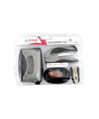SET Engrapadora Set + Grapa + Sacagrapas+Perforadora + Clips y dispensador. (Eagle)