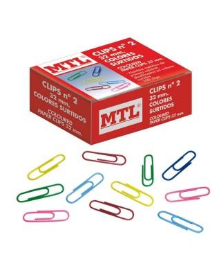 Clips de colores caja de 100 unidades