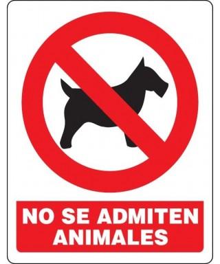 """Señal de seguridad """"NO SE ADMITEN ANIMALES"""""""