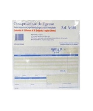 Comprobante de egreso, Marca Printer Mate, Original y dos Copias.