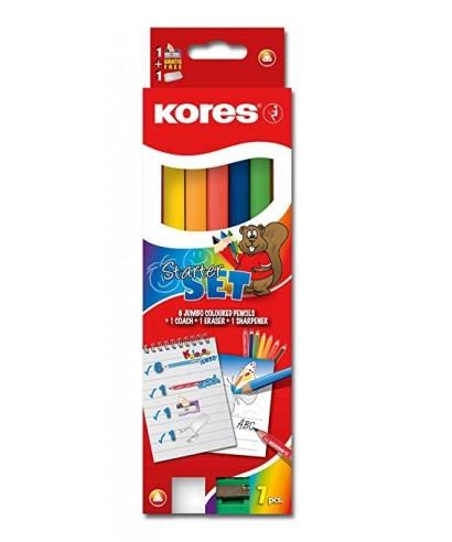 Lápices Kolores JUMBO Caja de 6 colores + Sacapunta