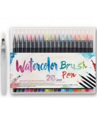 Marcadores tipo pincel en acuarela para lettering 20 colores