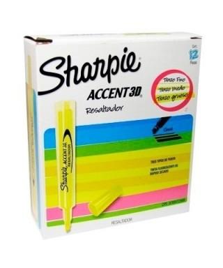 Resaltadores Accent Amarillo- Sharpie 3D Caja de 12