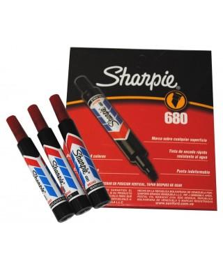 Marcador sharpie 680, punta fina, color Rojo (Caja por 12 Und)