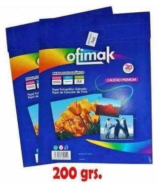 PAPEL FOTOGRÁFICO OFIMAK 20 HOJAS 200 GR
