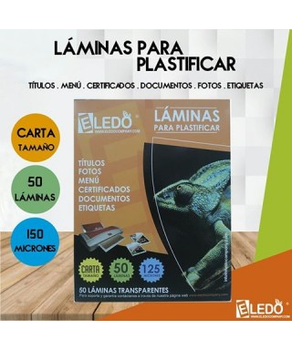 LÁMINAS DE PLASTIFICAR CARTA 150 MICRONES 216 x 280 MM