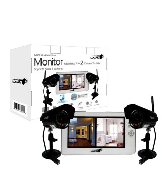 KIT DVR MONITOR DIGITAL INALAMBRICO + 2 CÁMARAS TIPO BALA LOGAN