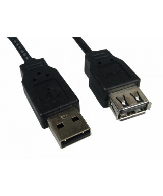 CABLE USB 2.0 EXTENSIÓN MACHO A HEMBRA 3 MTS NEGRO EMPAQUE