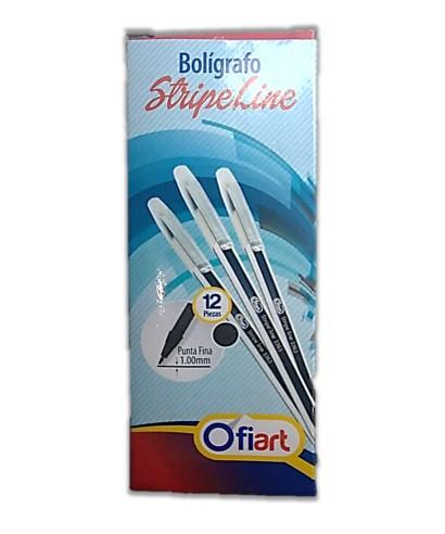 Boligrafo Stripe Line Ofiart Ngro x12